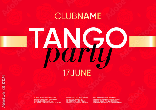 Horizontal tango party template with red background, beautiful flowers and text Canvas Print