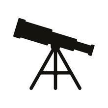 Telescope Icon Isolated On Whi...