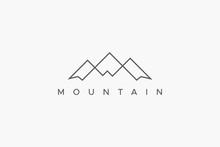 Outline Abstract Mountain Logo. Flat Line Vector Logo Design Template Element.