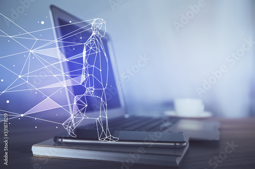 Obraz Desktop computer background in office and start up theme hologram drawing. Double exposure. Startup concept. - fototapety do salonu
