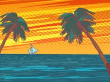 Sunset Beach Resort Palm Trees...