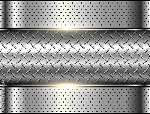 Leinwand Poster Background silver metallic, 3d chrome vector design with diamond plate