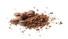 Coffee Beans Powder On White B...