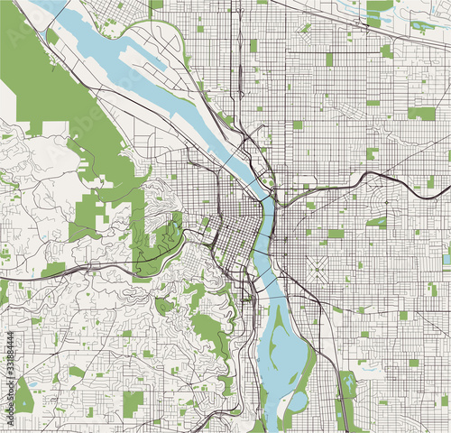 map of the city of Portland, Oregon, USA Canvas Print