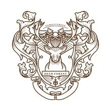 Family Crest Deer Vintage Illustration