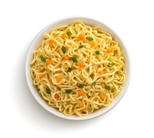 Instant Noodles Isolated On White Background, Top View