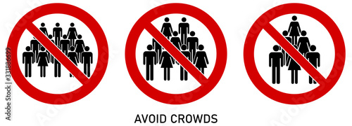 Foto Avoid crowds social distancing sign