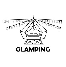 Glamping Or Camping With A Tent And Light Bulbs Icon In Black Isolated On A White Background. Comfort, Wi-fi. EPS 10 Vector.
