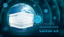 Protecting The Earth Coronavirus Epidemic COVID -19. Planet In A Medical Mask, Abstract Dark Background. 3D Realistic Illustration. Vector.