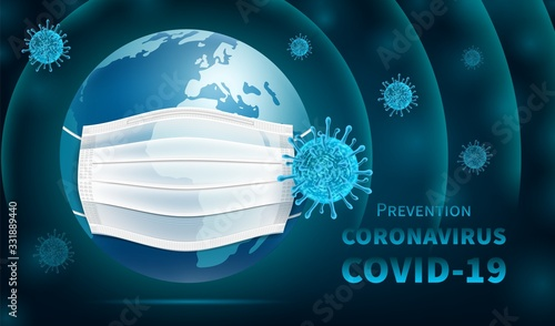 Fotomural Protecting the Earth coronavirus epidemic COVID -19