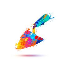 Trowel Watercolor Splash Paint Symbol
