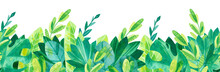 Tropical Leaves Seamless Horizontal Background. Jungle Watercolor Drawings. Cartoon Green Illustrations  Background.