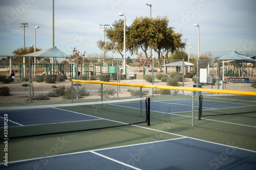 Empty pickleball courts in Goodyear Arizona USA - 331891258