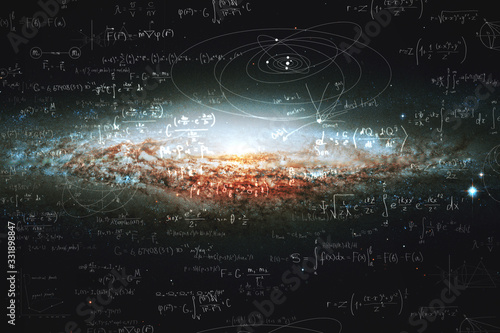Valokuvatapetti Science and research of the universe, spiral galaxy and physical formulas, conce