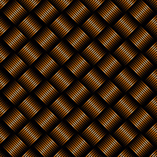Geometric Seamless Black And Orange Weave Pattern Background.