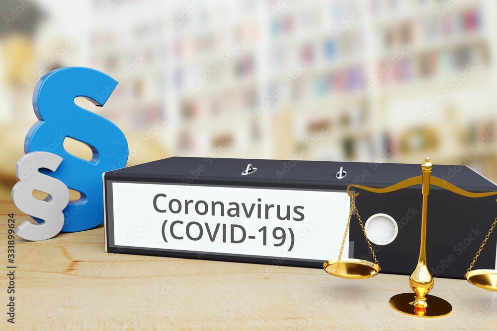 Fototapeta Coronavirus (COVID-19) – Ordner mit Beschriftung, Paragraf und Waage – Recht, Gesetz, Anwalt