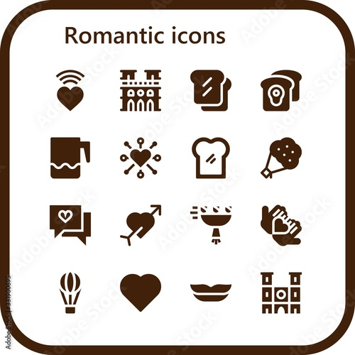 romantic icon set