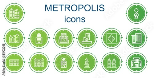 Fototapeta Editable 14 metropolis icons for web and mobile obraz