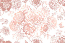 Seamless Pattern With Peonies And Leaves. White And Gold Foil Print.