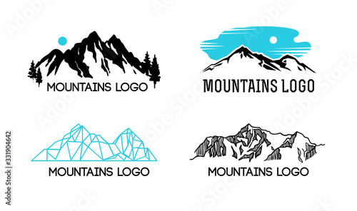 Mountains lodo. Emblem with stylized mountain landscape for design.
