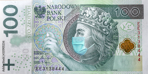 Obraz Coronavirus in Poland. Quarantine and global recession. 100 Polish zloty banknote with a face mask and antibacterial spray against infection. Global economy hit by corona virus covid19 outbreak and pa - fototapety do salonu