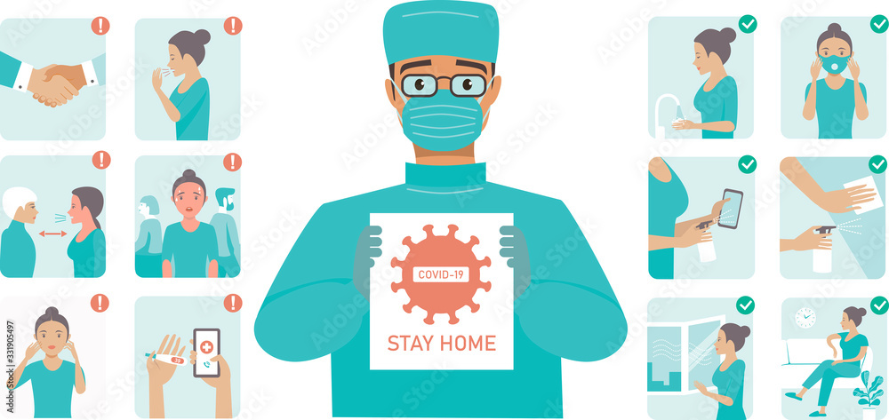 Fototapeta Coronavirus Covid-19 protection tips. Doctor wearing protective midical mask holding STOP COVID-19 sign