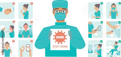 Fototapeta Coronavirus Covid-19 protection tips. Doctor wearing protective midical mask holding STOP COVID-19 sign obraz