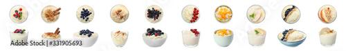 Fototapeta Set of delicious rice puddings on white background. Banner design obraz