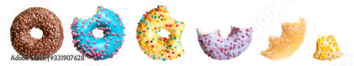 Photographie Set of glazed delicious donuts on white background