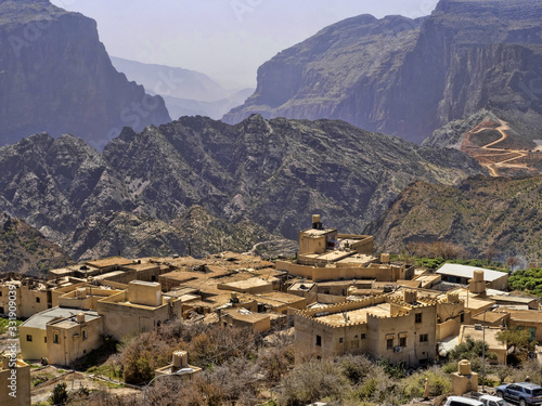A small village hidden in a deep valley in the mountains, Oman