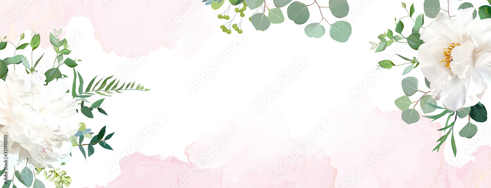 Fototapeta Retro delicate wedding banner with pink watercolor texture and flowers.
