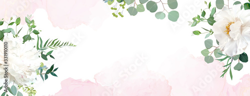 Retro delicate wedding banner with pink watercolor texture and flowers Fototapet