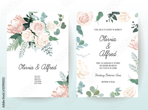 Silver sage and blush pink flowers vector design frames Canvas-taulu