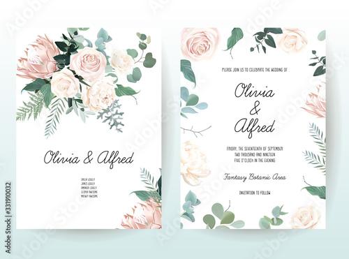 Tablou Canvas Silver sage and blush pink flowers vector design frames