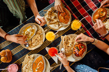 People Eating Indian Meal, Top View, Hands