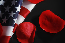 American Flag And Rose Flower ...