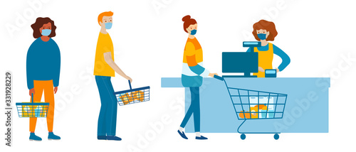 Fotografia People in medical masks doing shopping in supermarket