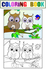 Two Owls On A Branch. Set Of C...