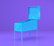 Arcade Pinball Cabinet, Game Platform, Entertainment Center Objects In Purple Flat Room, 3d Rendering