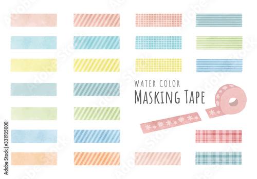 Fototapeta 水彩風パステルカラーのマスキングテープ obraz