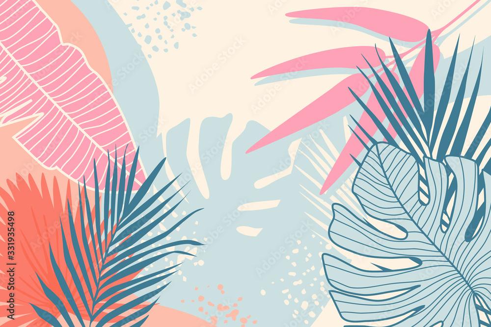 Fototapeta Modern tropical background. Jungle plants nature backdrop. Summer palm leaves wallpaper.