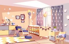 Nursery Baby Room Interior Vec...