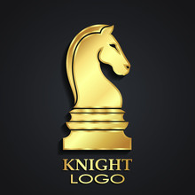 Chess Horse Knight 3d Golden Logo Design