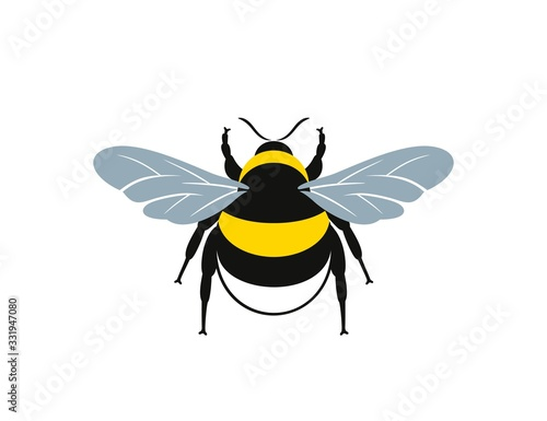 Fotomural Bumblebee logo. Isolated bumblebee on white background