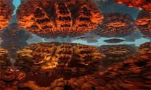 Fantastic, Surreal Landscape Of Another Planet. Rocks, Tunnel. 3D Render