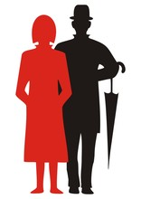 People, Woman And Man With Umbrella, Black And Red Silhouette, Vector Icon