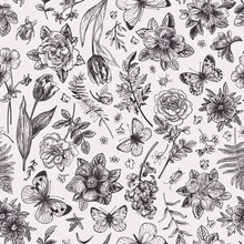 Seamless Floral Pattern With  Butterflies.