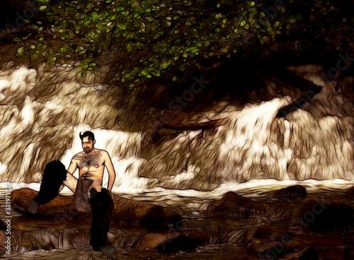 Obraz na plátně Satyr in the woods
