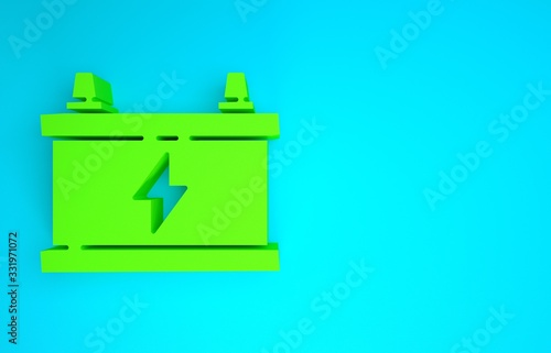 Green Car battery icon isolated on blue background Canvas Print