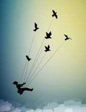 Girl Is Flying And Holding Pigeons, Fly In The Dream Up To The Sky, Childhood Memories, Silhouette Shadows
